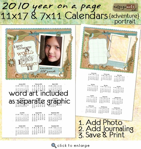 2010 11x17 & 7x11 Yearly Calendars - Adventure {portrait}