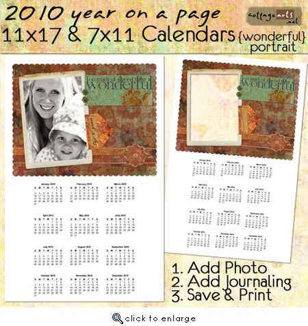 2010 11x17 & 7x11 Yearly Calendars - Wonderful (Portrait)