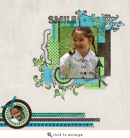 Smile 12x12 ScrapOver Template w/Separate Title
