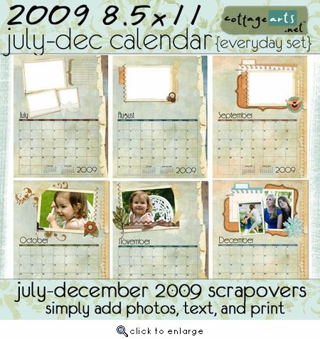 2009 8.5x11 Calendar Pak - Everyday - July-December