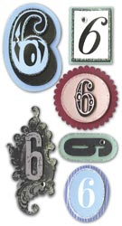 Mini Number, 6, Embellishment scrapbook stickers (Paper Bliss)<br><font color=red>25% off</font>