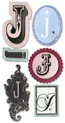 Mini Monogram, J, Embellishment scrapbook stickers (Paper Bliss)<br><font color=red>25% off</font>