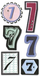 Mini Number, 7, Embellishment scrapbook stickers (Paper Bliss)<br><font color=red>25% off</font>