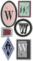 Mini Monogram, W, Embellishment scrapbook stickers (Paper Bliss)<br><font color=red>25% off</font>