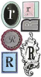 Mini Monogram, R, Embellishment scrapbook stickers (Paper Bliss)<br><font color=red>25% off</font>