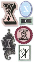 Mini Monogram, X, Embellishment scrapbook stickers (Paper Bliss)<br><font color=red>25% off</font>