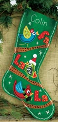 Dimensions: Fa La La Christmas Stocking, Felt Applique Kit<br><font color=red>ALMOST SOLD OUT</font>