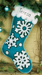 Dimensions: Flurries Christmas Stocking, Felt Applique Kit