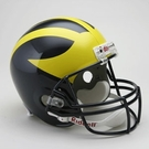 Michigan Wolverines Autographed Full Size Riddell Deluxe Replica Football Helmets