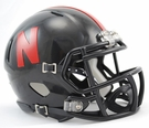 Nebraska Cornhuskers Black Speed Revolution Riddell Mini Football Helmet