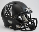 Northwestern Matte Black Finish Speed Revolution Riddell Mini Football Helmet