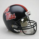 Ole Miss Rebels Autographed Full Size Riddell Deluxe Replica Football Helmets