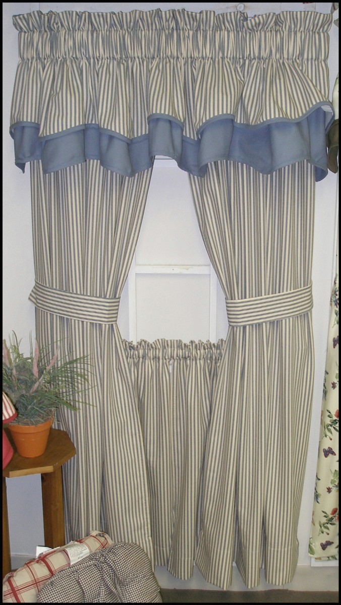 co dp uk blue ticking amazon curtains curtain cotton red metre kitchen nautical stripe home upholstery fabric