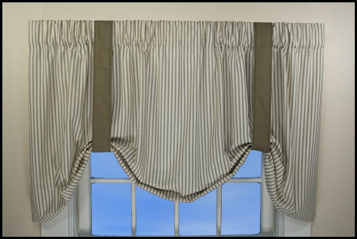 coffee gray top and french rods white grommet stripe curtain shower curtains ready ticking striped made tan