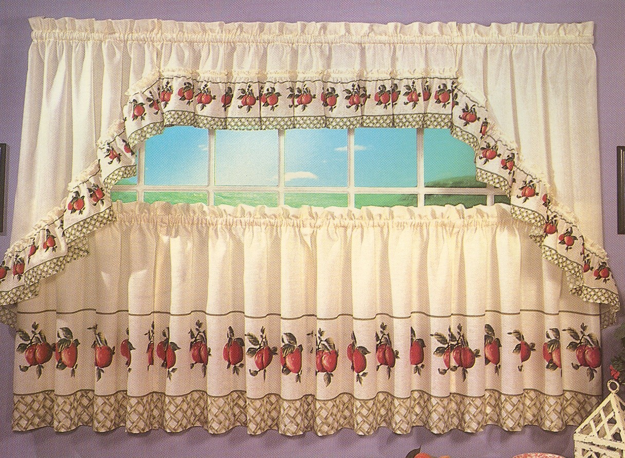 apple print kitchen curtains curtain menzilperde net. Black Bedroom Furniture Sets. Home Design Ideas