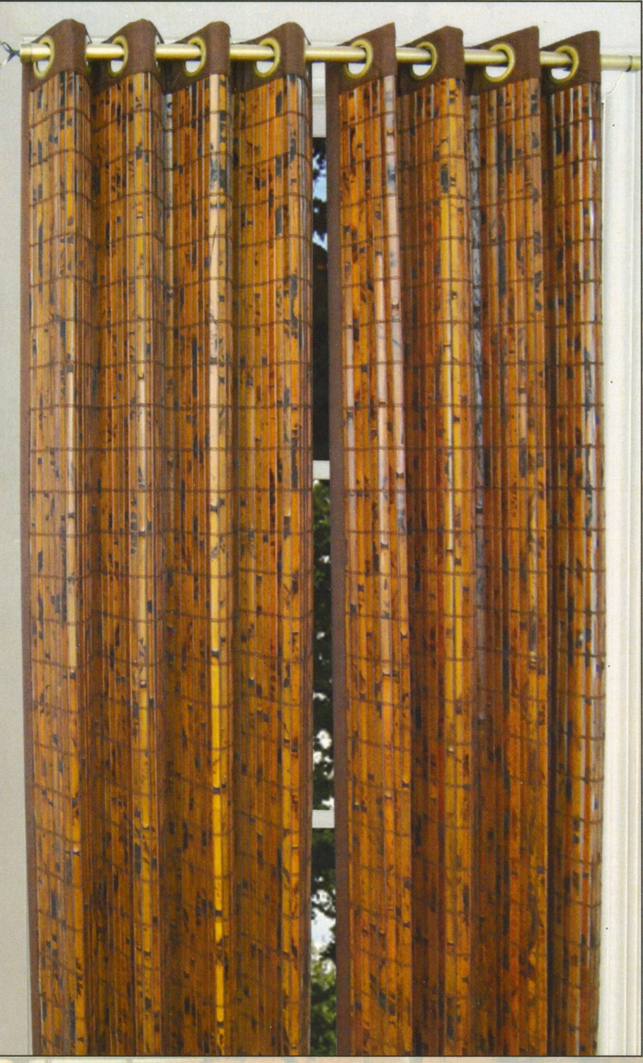 Bamboo Glass Panels : Grommet tier curtains pair tortoise shell bamboo