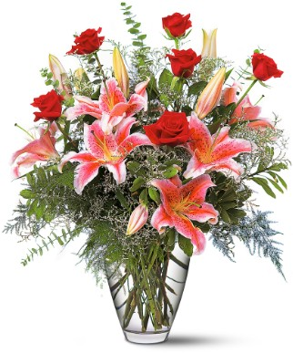 Stargazer lilies and roses bouquet