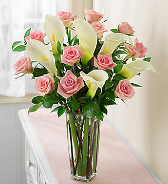 Pink Rose and White Calla Lily Bouquet