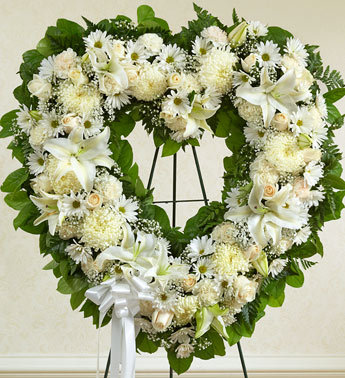 Always Remember Floral Heart Tribute - White