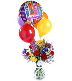 Birthday Balloon & Flowers bouquet