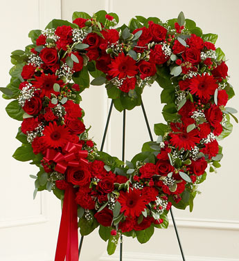 Always Remember Floral Heart Tribute - Red