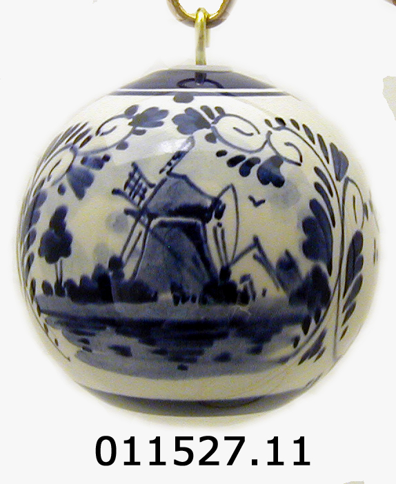 - DeWit Handpainted Blue Delft Lg Ball Christmas Ornament