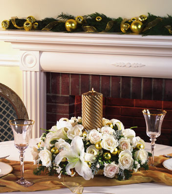 Christmas White and Gold Centerpiece - Designs East Florist Dallas