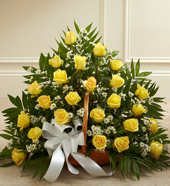 Yellow Rose Fireside Basket