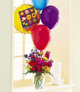 Get well with flowers & balloons