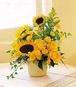 Sunflowers in a pot.