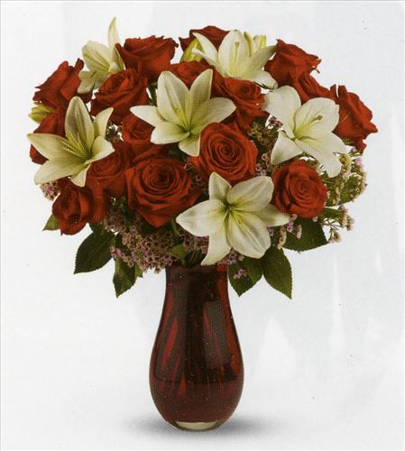 Red Rose Passion & Lily Bouquet