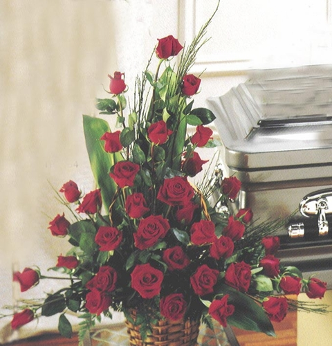Red Roses Funeral Basket - Designs East Florist Dallas
