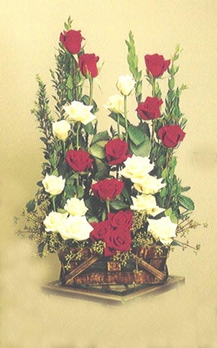 24  Red & White Roses - Designs East Florist Dallas