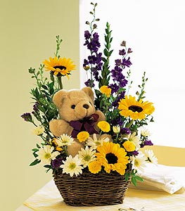 Flowers with a Plush Bear - Designs East Florist Dallas