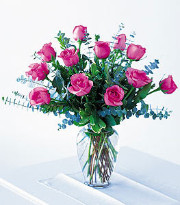 Dozen Pink Roses - Designs East Florist Dallas