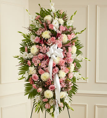 Pink and White Sympathy Standing Spray
