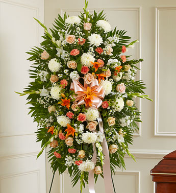 Peach, Orange and White Sympathy Standing Spray