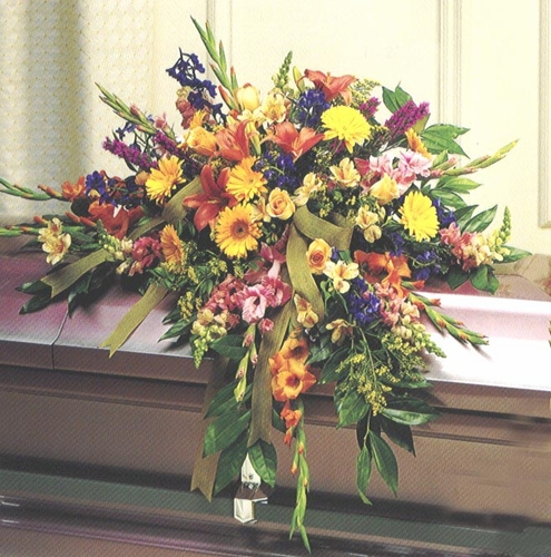 Funeral Spring Mixed Casket - Designs East Florist Dallas
