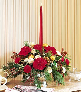 Single Red Taper Centerpiece - Designs East Florist Dallas