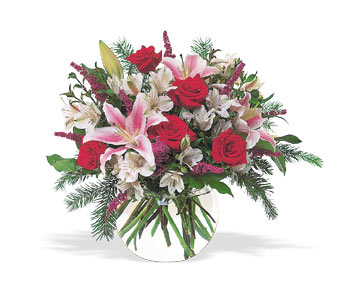 Holiday Red roses & Stargazers - Designs East Florist Dallas