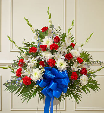 White And Blue Sympathy Standing Basket