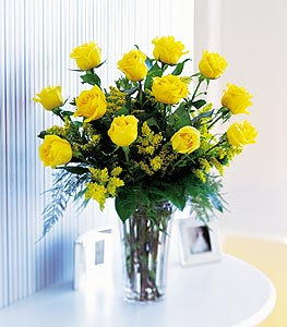 Dozen Long Stem Yellow Roses - Designs East Florist Dallas