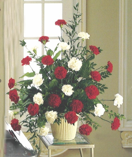 Funeral Red & White Carnations Basket