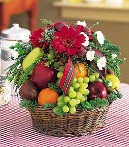 Christmas Fruit & Flowers Basket - Designs East Florist Dallas