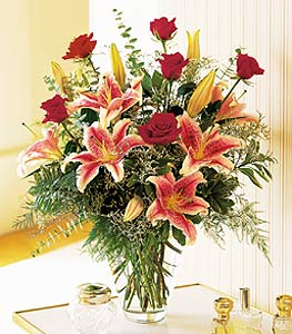 Stargazer and Red Roses Bouquet