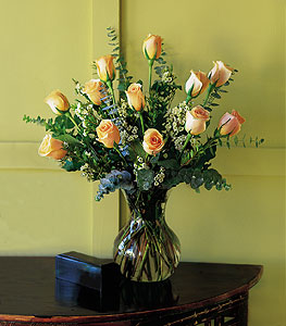 A Dozen Peach Roses - Designs East Florist Dallas