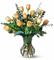 A Dozen Pale Peach Roses - Designs East Florist Dallas