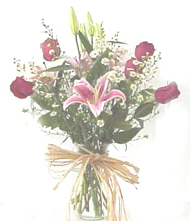 Red Roses and fragrance lilies