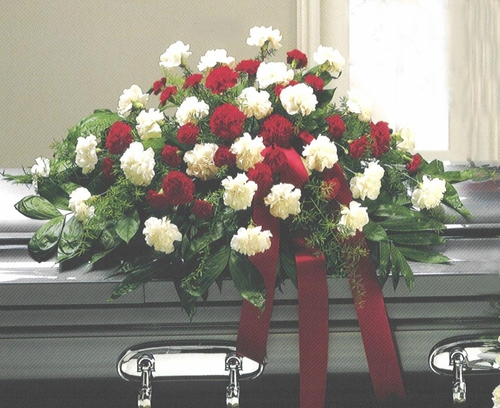 Funeral Red & White Carnations Casket - Designs East Florist Dallas