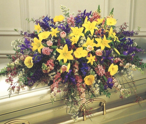 Funeral Mixed Flowers Casket - Designs East Florist Dallas